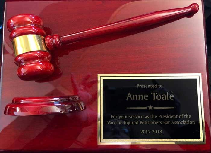 Anne Toale Award for her service as the 2017-2018 VIP Bar President